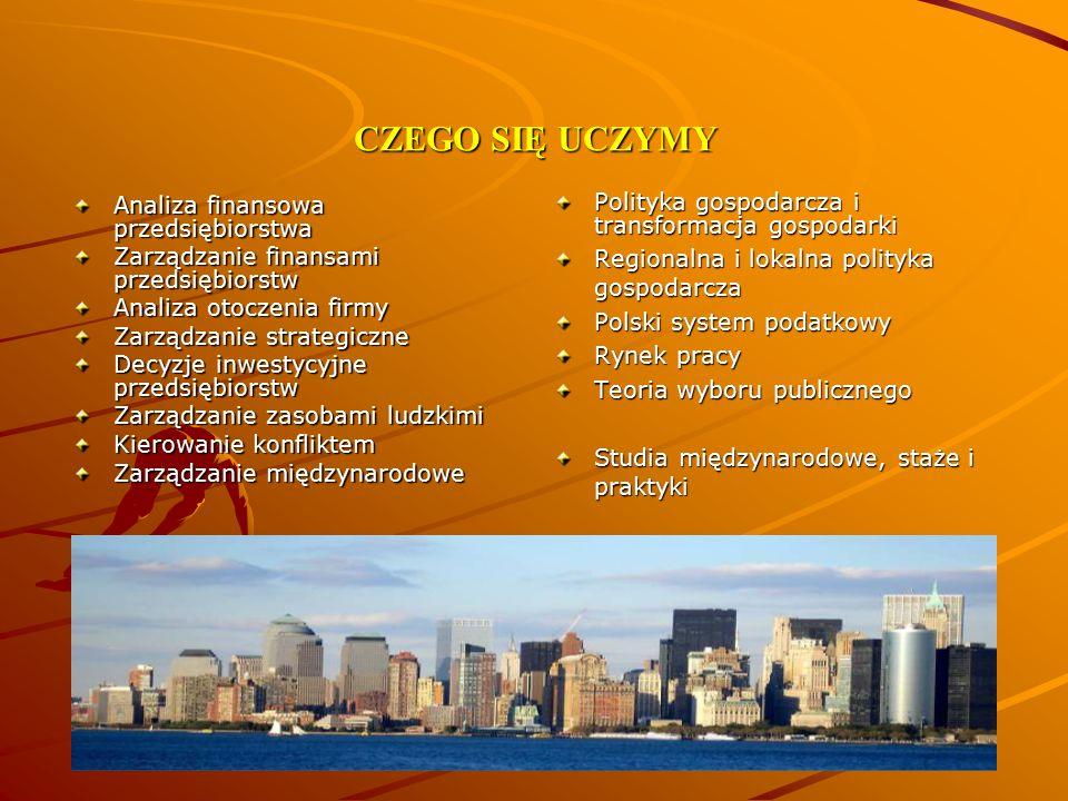 CZEGO SIĘ UCZYMY Analiza finansowa przedsiębiorstwa Zarządzanie finansami przedsiębiorstw Analiza otoczenia firmy Zarządzanie strategiczne Decyzje inw