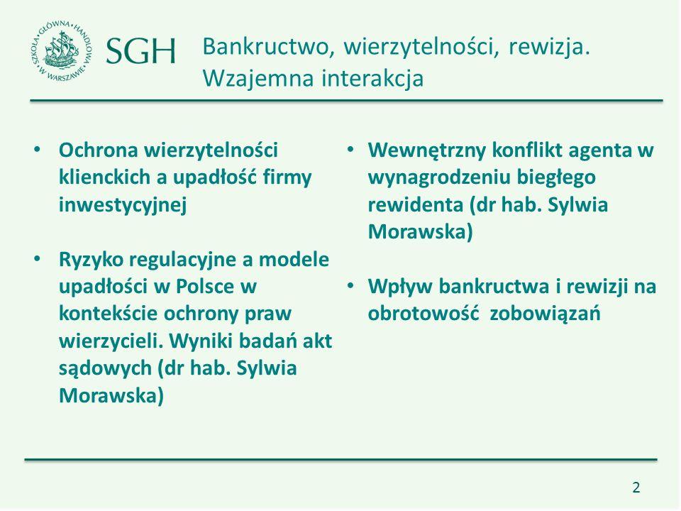 13 Ochrona wierzytelności klienckich a upadłość firmy inwestycyjnej Dysfunkcja pod bilansu Ryzyko regulacyjne a modele upadłości w Polsce w kontekście ochrony praw wierzycieli.