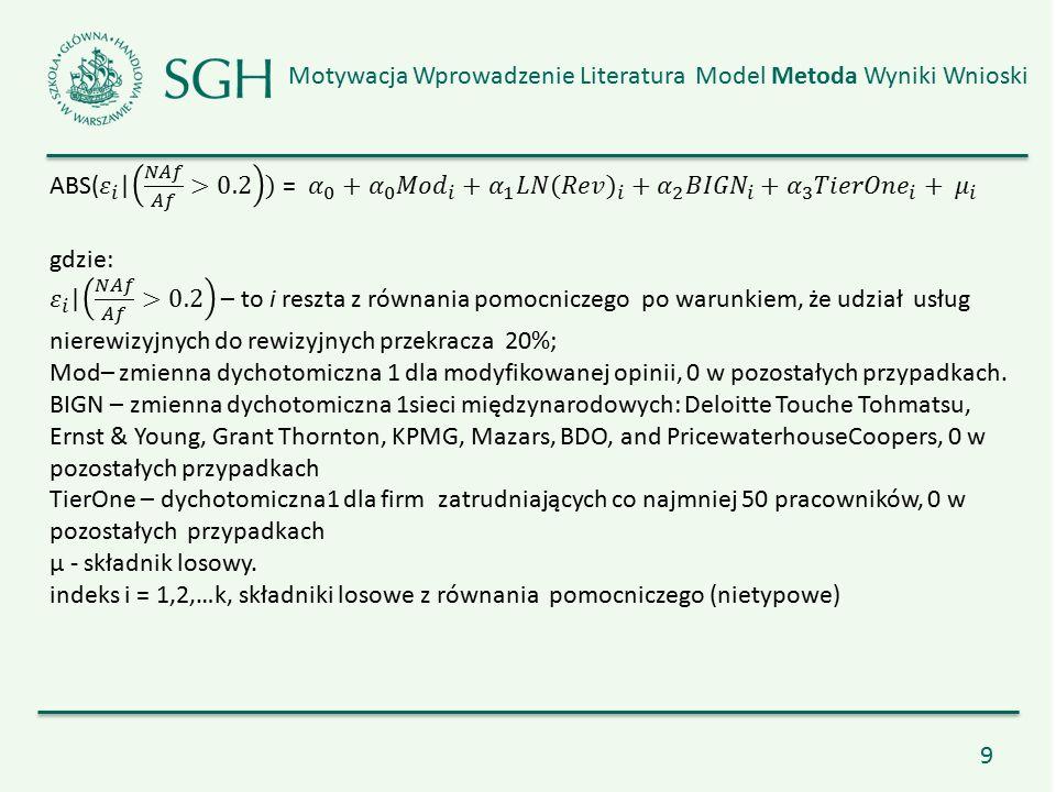 10 Motywacja Wprowadzenie Literatura Model Metoda Wyniki Wnioski Wyniki zgodne ze wcześniejszymi raportami dla Komisji Europejskiej Morand, P.