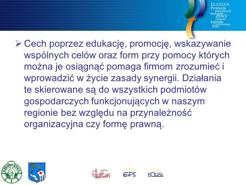  Cech poprzez edukację, promocję, wskazywanie wspólnych celów oraz form przy pomocy których można je osiągnąć pomaga firmom zrozumieć i wprowadzić w życie zasady synergii.