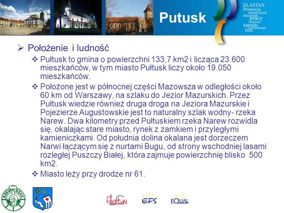 Putusk  Położenie i ludność  Pułtusk to gmina o powierzchni 133,7 km2 i licząca 23.600 mieszkańców, w tym miasto Pułtusk liczy około 19.050 mieszkańców.