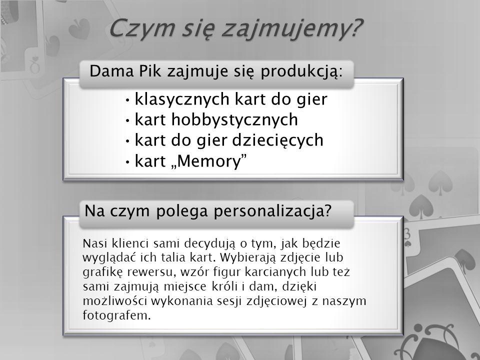 """klasycznych kart do gier kart hobbystycznych kart do gier dziecięcych kart """"Memory klasycznych kart do gier kart hobbystycznych kart do gier dziecięcych kart """"Memory Dama Pik zajmuje się produkcją: Nasi klienci sami decydują o tym, jak będzie wyglądać ich talia kart."""