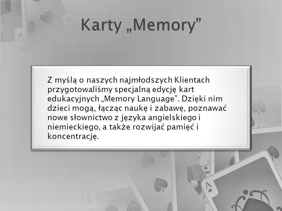 """Z myślą o naszych najmłodszych Klientach przygotowaliśmy specjalną edycję kart edukacyjnych """"Memory Language ."""