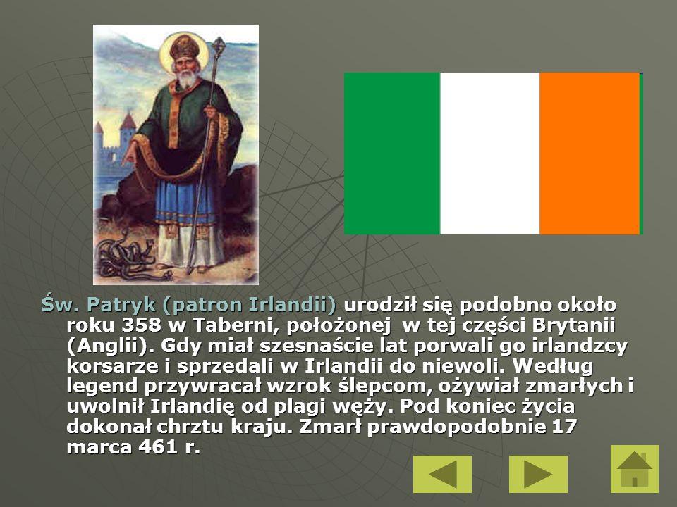 Św. Patryk (patron Irlandii) urodził się podobno około roku 358 w Taberni, położonej w tej części Brytanii (Anglii). Gdy miał szesnaście lat porwali g