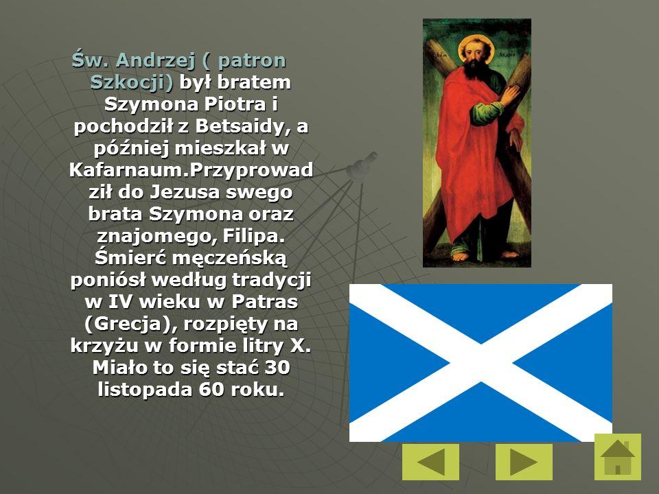 Św. Andrzej ( patron Szkocji) był bratem Szymona Piotra i pochodził z Betsaidy, a później mieszkał w Kafarnaum.Przyprowad ził do Jezusa swego brata Sz