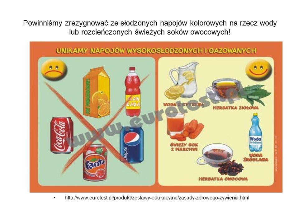 Powinniśmy zrezygnować ze słodzonych napojów kolorowych na rzecz wody lub rozcieńczonych świeżych soków owocowych.