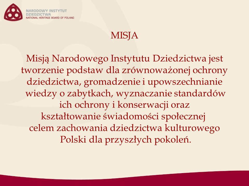 MISJA Misją Narodowego Instytutu Dziedzictwa jest tworzenie podstaw dla zrównoważonej ochrony dziedzictwa, gromadzenie i upowszechnianie wiedzy o zabytkach, wyznaczanie standardów ich ochrony i konserwacji oraz kształtowanie świadomości społecznej celem zachowania dziedzictwa kulturowego Polski dla przyszłych pokoleń.