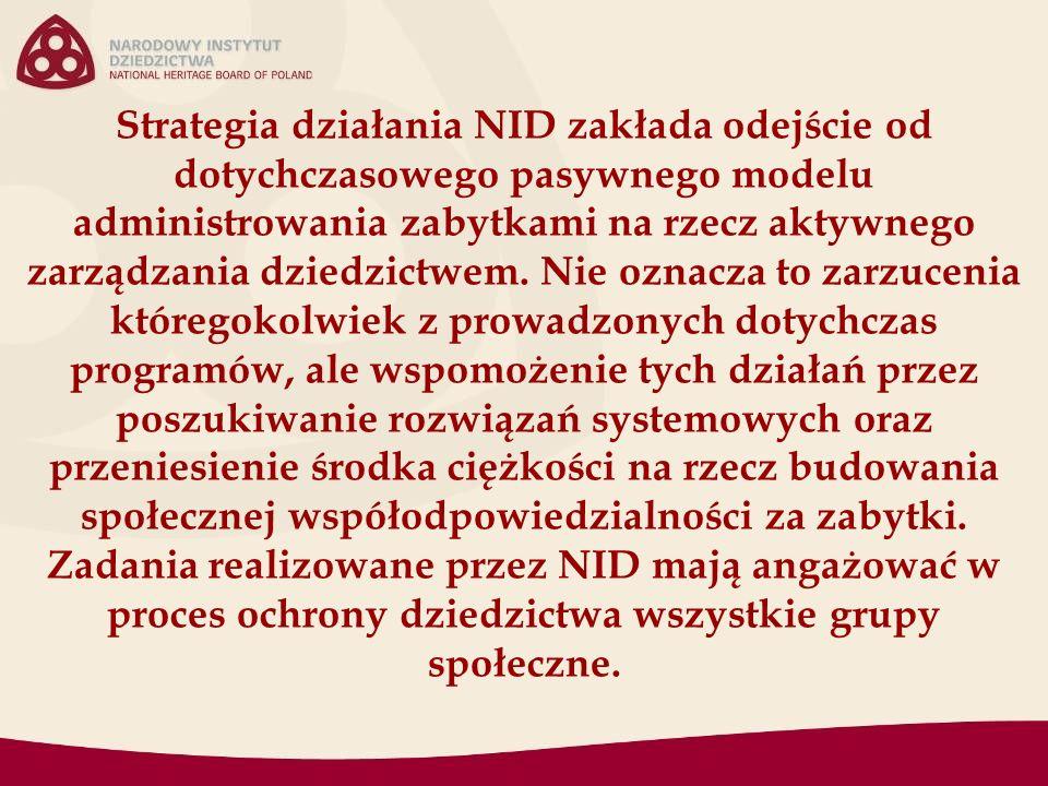 Strategia działania NID zakłada odejście od dotychczasowego pasywnego modelu administrowania zabytkami na rzecz aktywnego zarządzania dziedzictwem. Ni