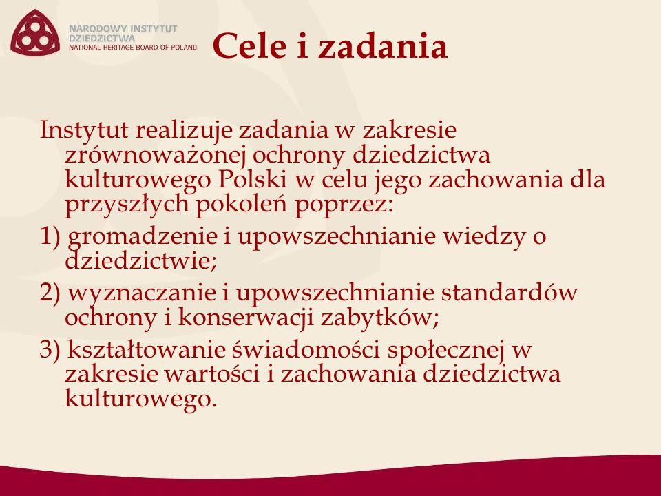 Cele i zadania Instytut realizuje zadania w zakresie zrównoważonej ochrony dziedzictwa kulturowego Polski w celu jego zachowania dla przyszłych pokoleń poprzez: 1) gromadzenie i upowszechnianie wiedzy o dziedzictwie; 2) wyznaczanie i upowszechnianie standardów ochrony i konserwacji zabytków; 3) kształtowanie świadomości społecznej w zakresie wartości i zachowania dziedzictwa kulturowego.