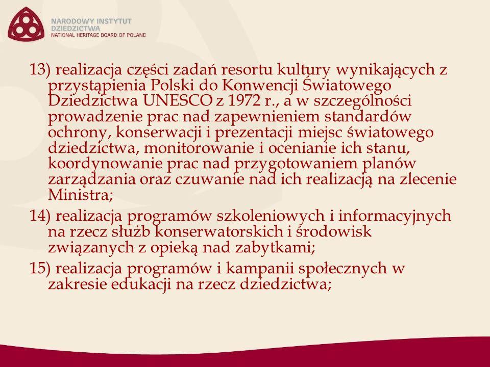 13) realizacja części zadań resortu kultury wynikających z przystąpienia Polski do Konwencji Światowego Dziedzictwa UNESCO z 1972 r., a w szczególności prowadzenie prac nad zapewnieniem standardów ochrony, konserwacji i prezentacji miejsc światowego dziedzictwa, monitorowanie i ocenianie ich stanu, koordynowanie prac nad przygotowaniem planów zarządzania oraz czuwanie nad ich realizacją na zlecenie Ministra; 14) realizacja programów szkoleniowych i informacyjnych na rzecz służb konserwatorskich i środowisk związanych z opieką nad zabytkami; 15) realizacja programów i kampanii społecznych w zakresie edukacji na rzecz dziedzictwa;