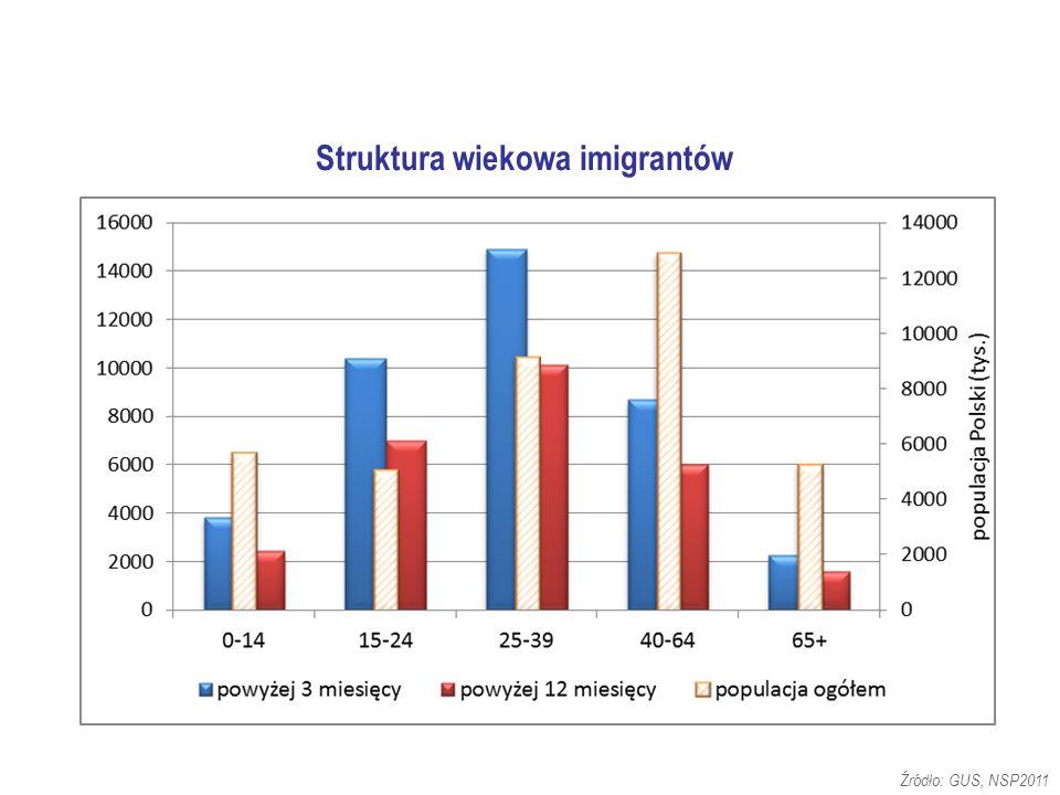 Struktura wiekowa imigrantów Źródło: GUS, NSP2011