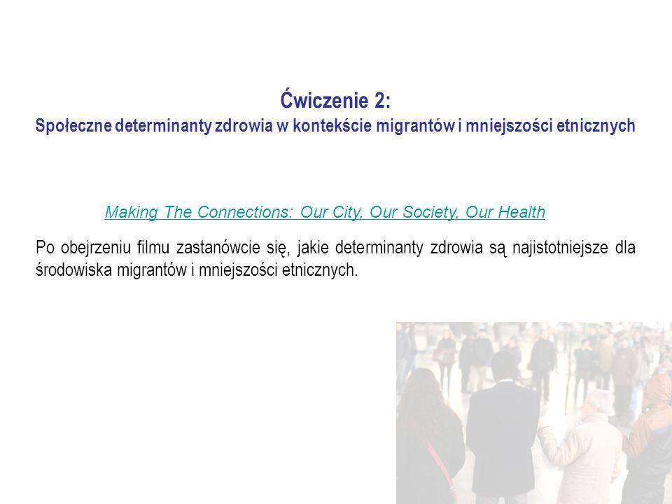 Ćwiczenie 2: Społeczne determinanty zdrowia w kontekście migrantów i mniejszości etnicznych Po obejrzeniu filmu zastanówcie się, jakie determinanty zdrowia są najistotniejsze dla środowiska migrantów i mniejszości etnicznych.