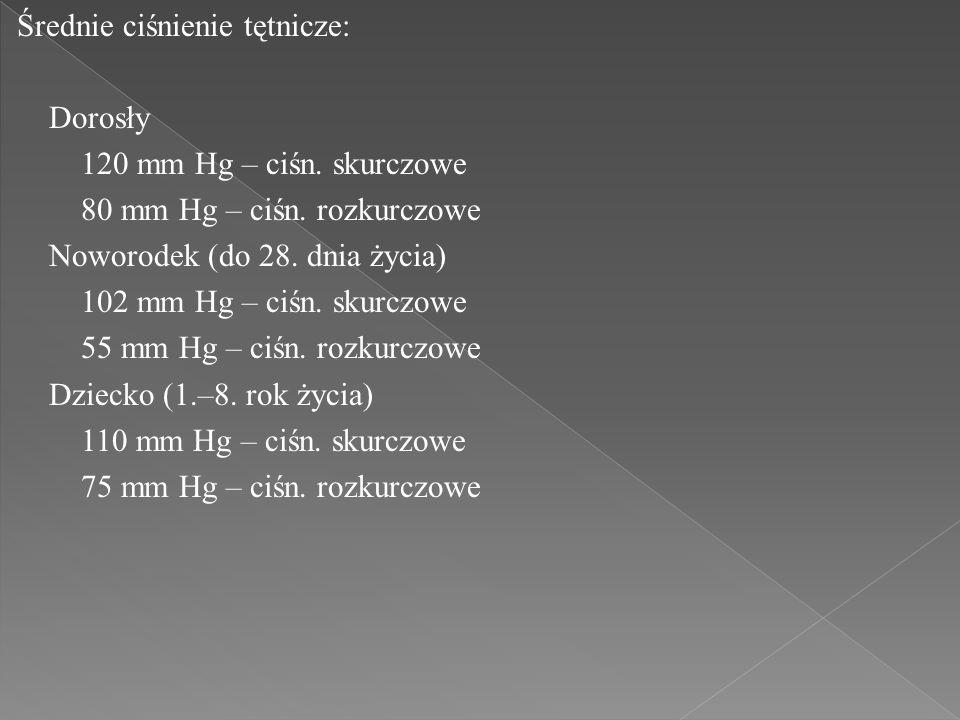 Średnie ciśnienie tętnicze: Dorosły 120 mm Hg – ciśn. skurczowe 80 mm Hg – ciśn. rozkurczowe Noworodek (do 28. dnia życia) 102 mm Hg – ciśn. skurczowe
