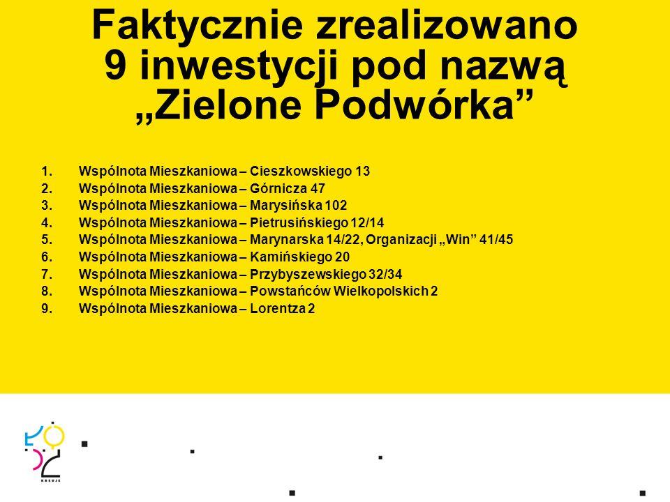 """1.Wspólnota Mieszkaniowa – Cieszkowskiego 13 2.Wspólnota Mieszkaniowa – Górnicza 47 3.Wspólnota Mieszkaniowa – Marysińska 102 4.Wspólnota Mieszkaniowa – Pietrusińskiego 12/14 5.Wspólnota Mieszkaniowa – Marynarska 14/22, Organizacji """"Win 41/45 6.Wspólnota Mieszkaniowa – Kamińskiego 20 7.Wspólnota Mieszkaniowa – Przybyszewskiego 32/34 8.Wspólnota Mieszkaniowa – Powstańców Wielkopolskich 2 9.Wspólnota Mieszkaniowa – Lorentza 2 Faktycznie zrealizowano 9 inwestycji pod nazwą """"Zielone Podwórka"""
