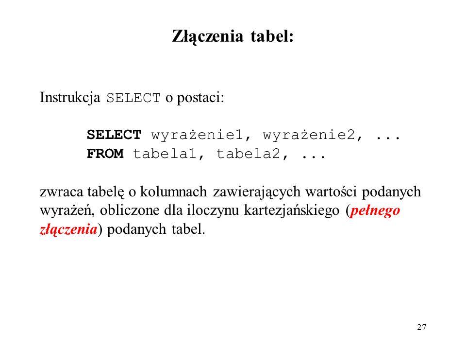27 Złączenia tabel: Instrukcja SELECT o postaci: SELECT wyrażenie1, wyrażenie2,...