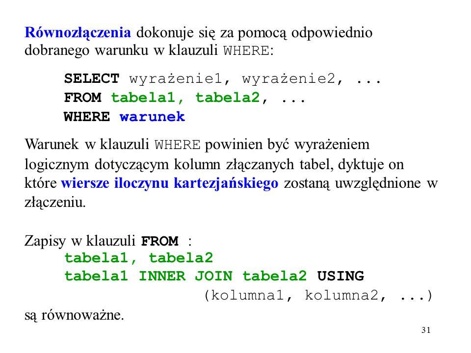 31 Równozłączenia dokonuje się za pomocą odpowiednio dobranego warunku w klauzuli WHERE : SELECT wyrażenie1, wyrażenie2,...