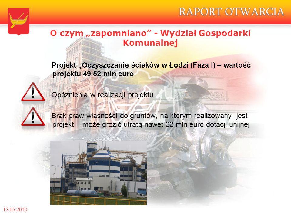 """O czym """"zapomniano - Wydział Gospodarki Komunalnej Projekt """"Oczyszczanie ścieków w Łodzi (Faza I) – wartość projektu 49,52 mln euro Opóźnienia w realizacji projektu Brak praw własności do gruntów, na którym realizowany jest projekt – może grozić utratą nawet 22 mln euro dotacji unijnej 13.05.2010"""