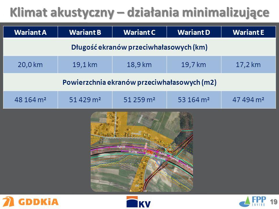 Klimat akustyczny – działania minimalizujące Wariant AWariant BWariant CWariant DWariant E Długość ekranów przeciwhałasowych (km) 20,0 km19,1 km18,9 km19,7 km17,2 km Powierzchnia ekranów przeciwhałasowych (m2) 48 164 m 2 51 429 m 2 51 259 m 2 53 164 m 2 47 494 m 2 19