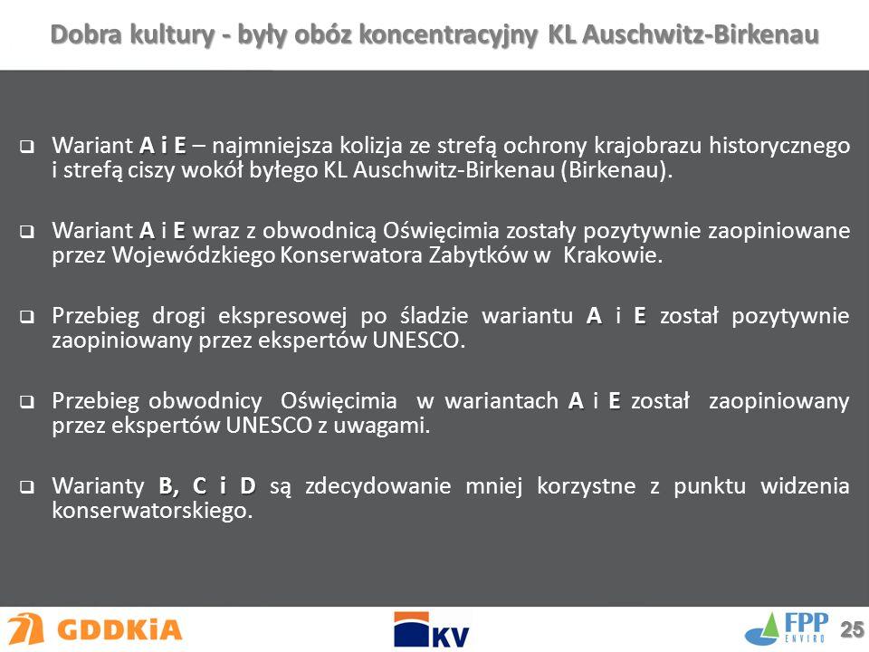 A i E  Wariant A i E – najmniejsza kolizja ze strefą ochrony krajobrazu historycznego i strefą ciszy wokół byłego KL Auschwitz-Birkenau (Birkenau).