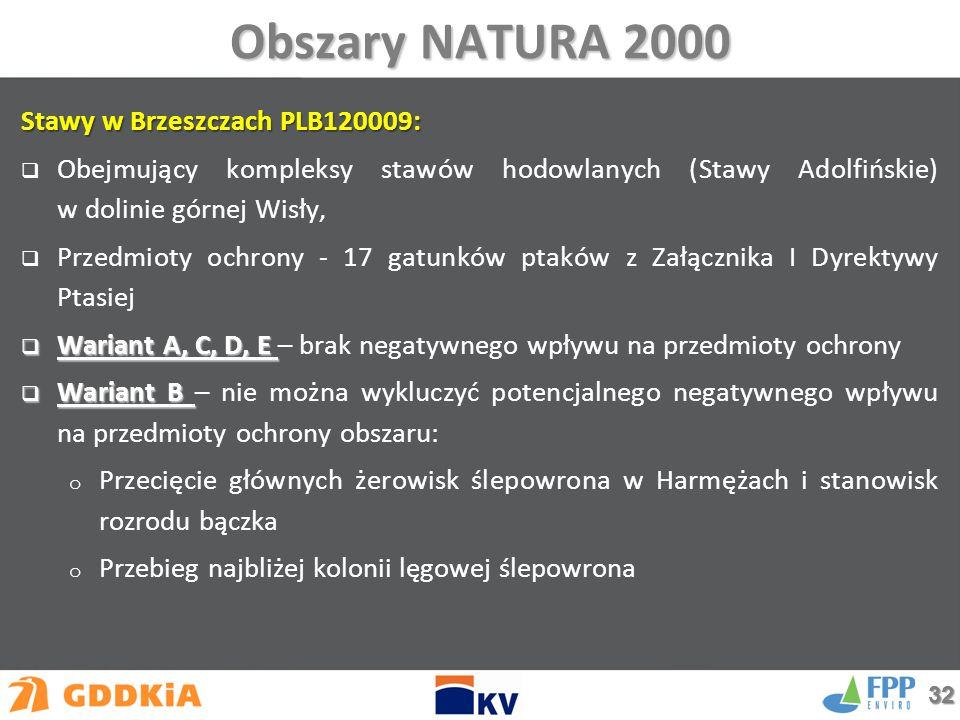 Obszary NATURA 2000 Stawy w Brzeszczach PLB120009:  Obejmujący kompleksy stawów hodowlanych (Stawy Adolfińskie) w dolinie górnej Wisły,  Przedmioty ochrony - 17 gatunków ptaków z Załącznika I Dyrektywy Ptasiej  Wariant A, C, D, E  Wariant A, C, D, E – brak negatywnego wpływu na przedmioty ochrony  Wariant B  Wariant B – nie można wykluczyć potencjalnego negatywnego wpływu na przedmioty ochrony obszaru: o Przecięcie głównych żerowisk ślepowrona w Harmężach i stanowisk rozrodu bączka o Przebieg najbliżej kolonii lęgowej ślepowrona 32