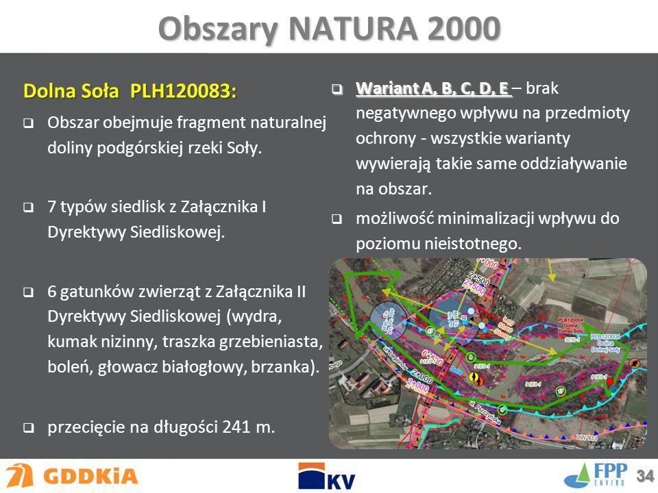 Obszary NATURA 2000 Dolna Soła PLH120083:  Obszar obejmuje fragment naturalnej doliny podgórskiej rzeki Soły.