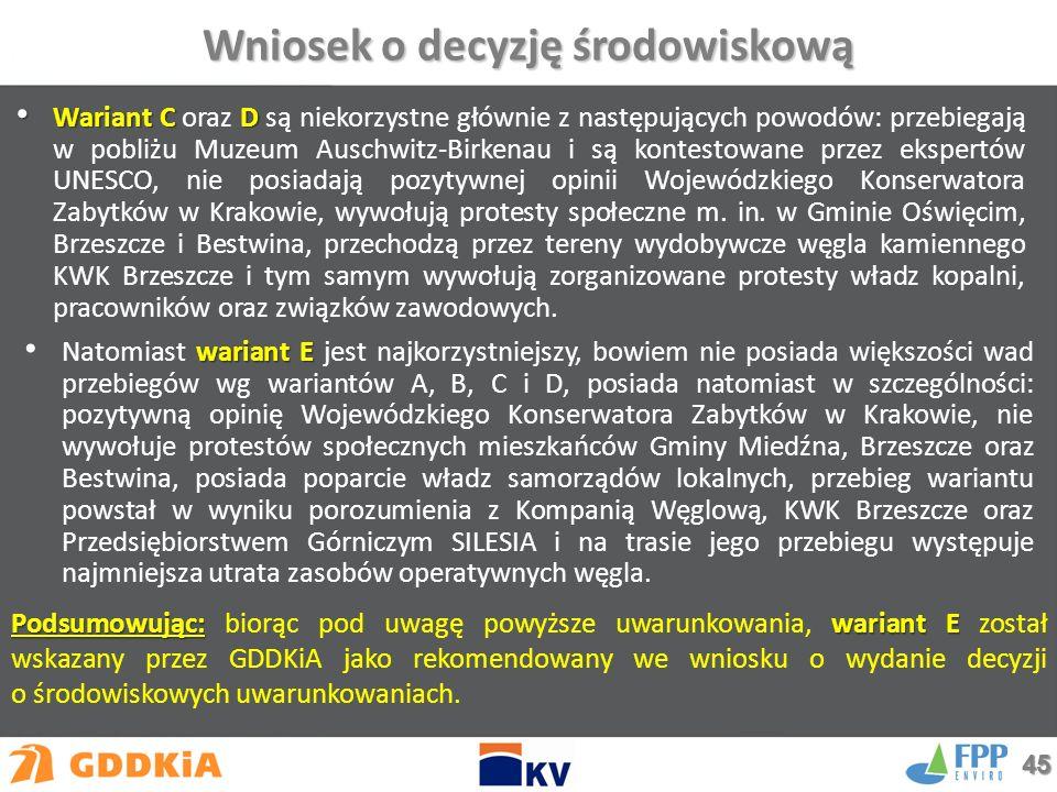 Wariant CD Wariant C oraz D są niekorzystne głównie z następujących powodów: przebiegają w pobliżu Muzeum Auschwitz-Birkenau i są kontestowane przez ekspertów UNESCO, nie posiadają pozytywnej opinii Wojewódzkiego Konserwatora Zabytków w Krakowie, wywołują protesty społeczne m.
