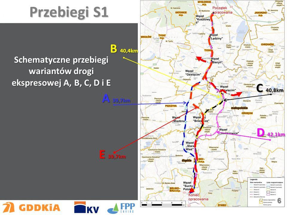 E 39,7km A 39,7km B 40,4km C 40,8km D 42,1km Schematyczne przebiegi wariantów drogi ekspresowej A, B, C, D i E Przebiegi S1 6