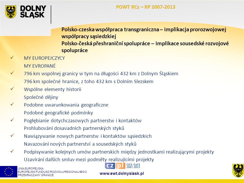 www.ewt.dolnyslask.pl Polsko-czeska współpraca transgraniczna – implikacja prorozwojowej współpracy sąsiedzkiej Polsko-česká přeshraniční spolupráce – implikace sousedské rozvojové spolupráce UNIA EUROPEJSKA EUROPEJSKI FUNDUSZ ROZWOJU REGIONALNEGO PRZEKRACZAMY GRANICE MY EUROPEJCZYCY MY EVROPANÉ 796 km wspólnej granicy w tym na długości 432 km z Dolnym Śląskiem 796 km společné hranice, z toho 432 km s Dolním Slezskem Wspólne elementy historii Společné dějiny Podobne uwarunkowania geograficzne Podobné geografické podmínky Pogłębianie dotychczasowych partnerstw i kontaktów Prohlubování dosavadních partnerských styků Nawiązywanie nowych partnerstw i kontaktów sąsiedzkich Navazování nových partnerství a sousedských styků Podpisywanie kolejnych umów partnerskich między jednostkami realizującymi projekty Uzavírání dalších smluv mezi podměty realizujícími projekty