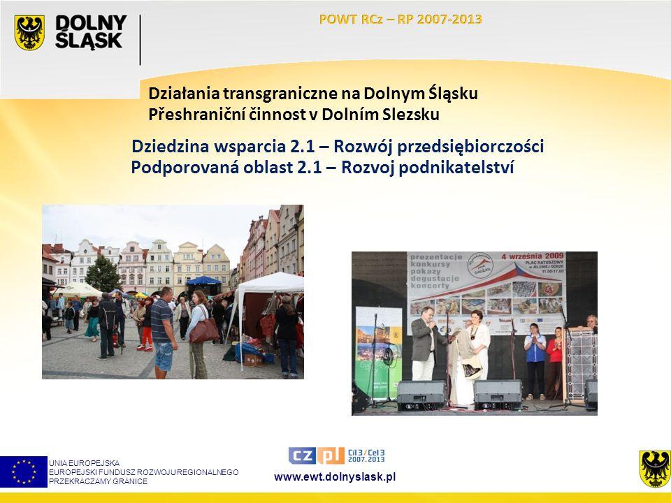 www.ewt.dolnyslask.pl Działania transgraniczne na Dolnym Śląsku UNIA EUROPEJSKA EUROPEJSKI FUNDUSZ ROZWOJU REGIONALNEGO PRZEKRACZAMY GRANICE Dziedzina