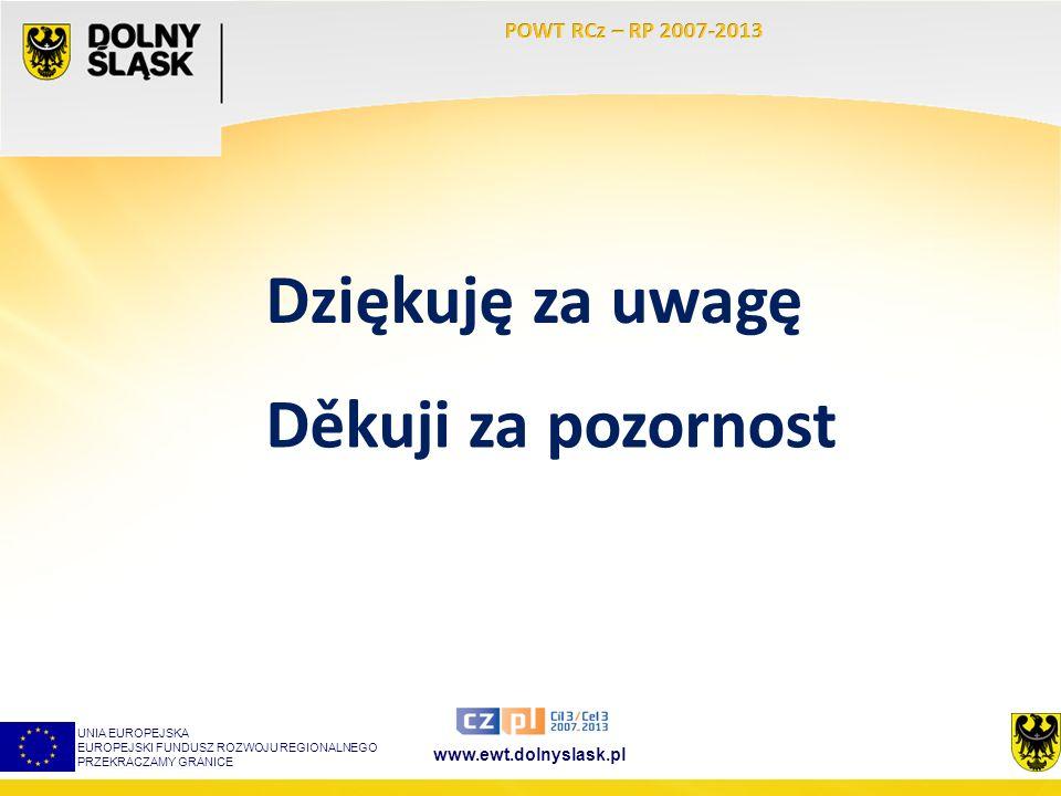 www.ewt.dolnyslask.pl UNIA EUROPEJSKA EUROPEJSKI FUNDUSZ ROZWOJU REGIONALNEGO PRZEKRACZAMY GRANICE Dziękuję za uwagę Děkuji za pozornost