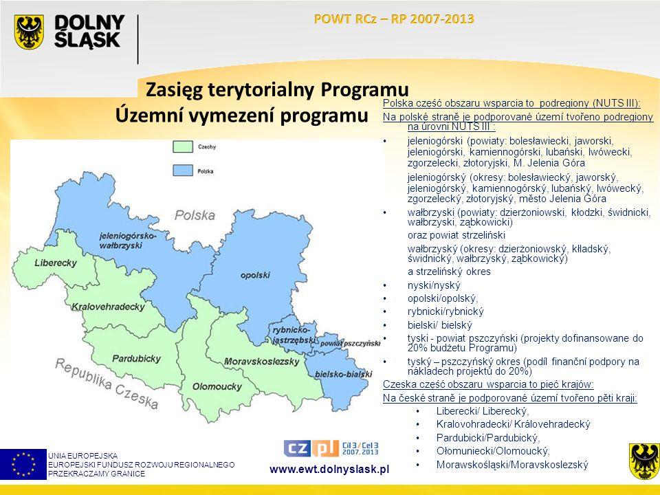 www.ewt.dolnyslask.pl Zasięg terytorialny Programu Polska część obszaru wsparcia to podregiony (NUTS III): Na polské straně je podporované území tvoře