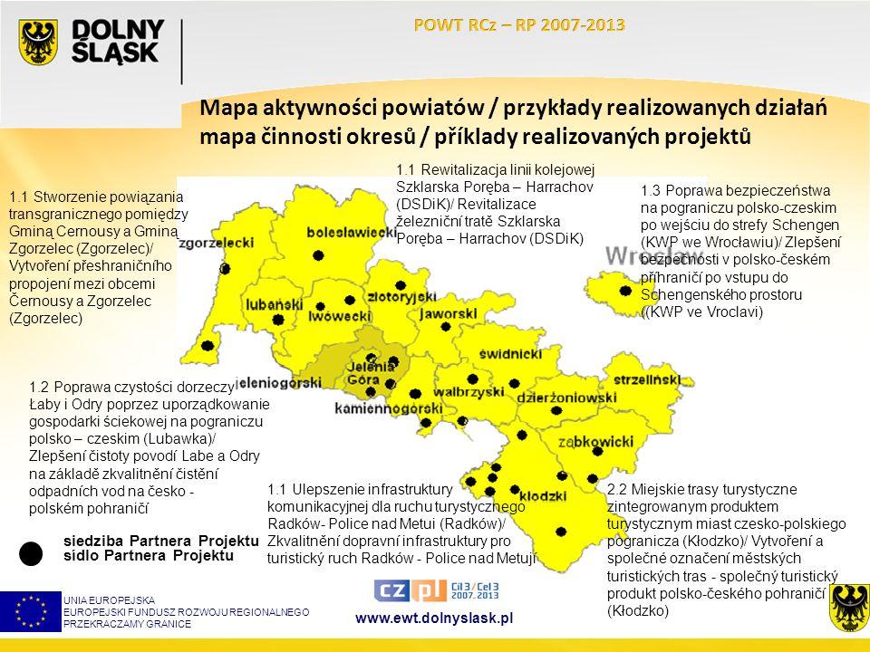 www.ewt.dolnyslask.pl UNIA EUROPEJSKA EUROPEJSKI FUNDUSZ ROZWOJU REGIONALNEGO PRZEKRACZAMY GRANICE Mapa aktywności powiatów / przykłady realizowanych