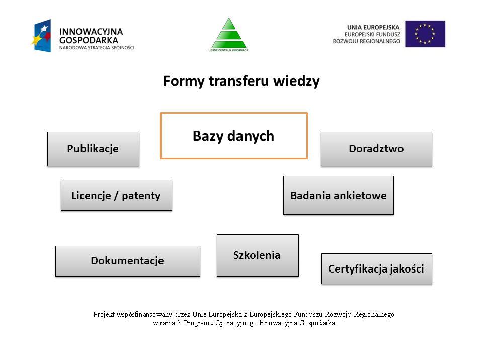 Formy transferu wiedzy Licencje / patenty Dokumentacje Doradztwo Badania ankietowe Certyfikacja jakości Publikacje Bazy danych Szkolenia