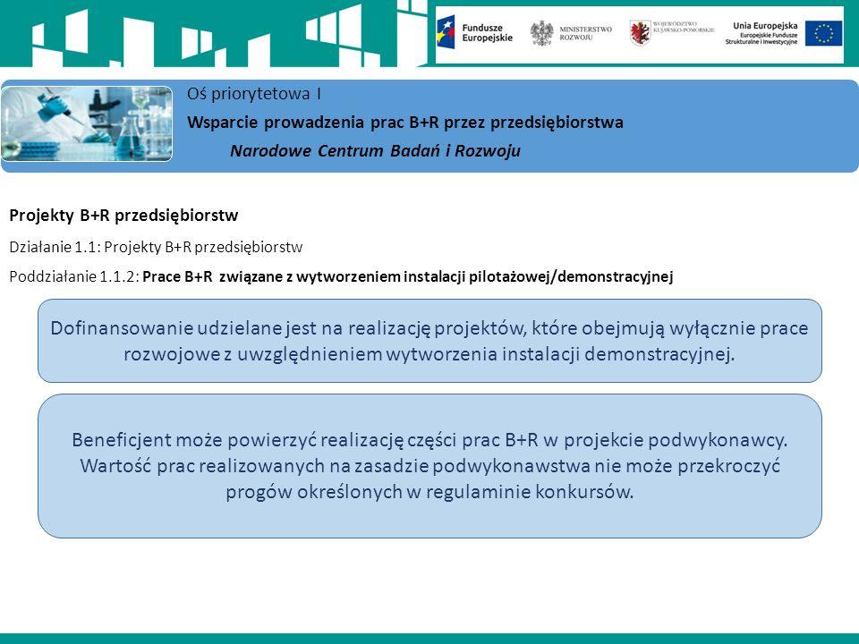 Projekty B+R przedsiębiorstw Działanie 1.1: Projekty B+R przedsiębiorstw Poddziałanie 1.1.2: Prace B+R związane z wytworzeniem instalacji pilotażowej/demonstracyjnej Oś priorytetowa I Wsparcie prowadzenia prac B+R przez przedsiębiorstwa Narodowe Centrum Badań i Rozwoju Dofinansowanie udzielane jest na realizację projektów, które obejmują wyłącznie prace rozwojowe z uwzględnieniem wytworzenia instalacji demonstracyjnej.