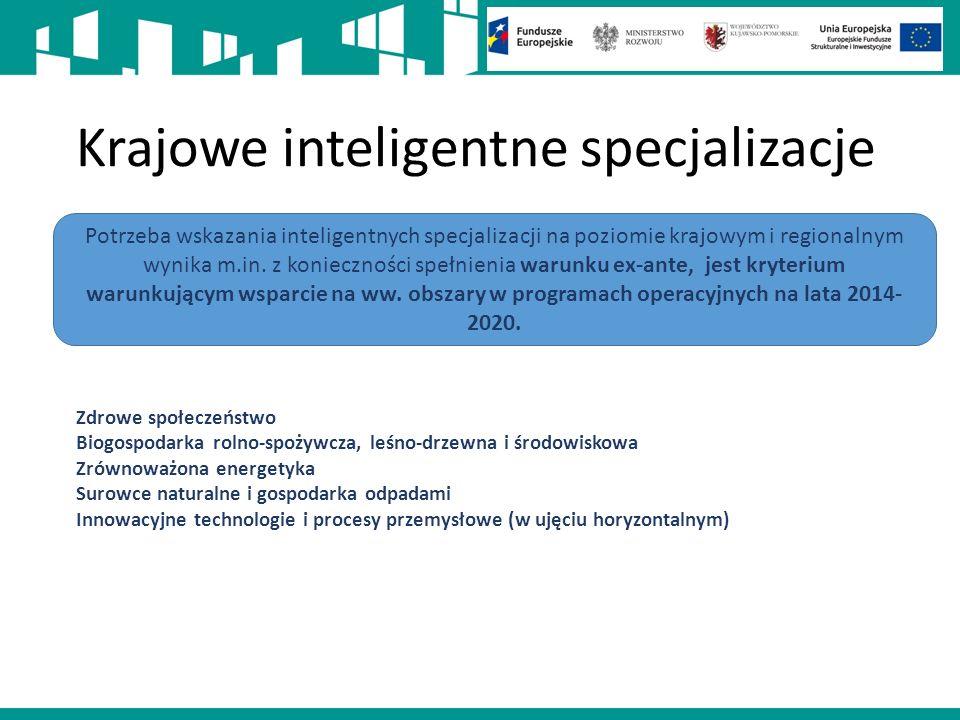 Krajowe inteligentne specjalizacje Potrzeba wskazania inteligentnych specjalizacji na poziomie krajowym i regionalnym wynika m.in.