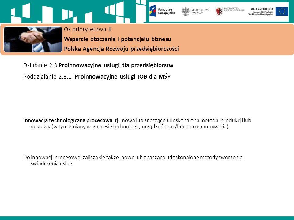 Oś priorytetowa II Wsparcie otoczenia i potencjału biznesu Polska Agencja Rozwoju przedsiębiorczości Działanie 2.3 Proinnowacyjne usługi dla przedsiębiorstw Poddziałanie 2.3.1 Proinnowacyjne usługi IOB dla MŚP Innowacja technologiczna procesowa, tj.
