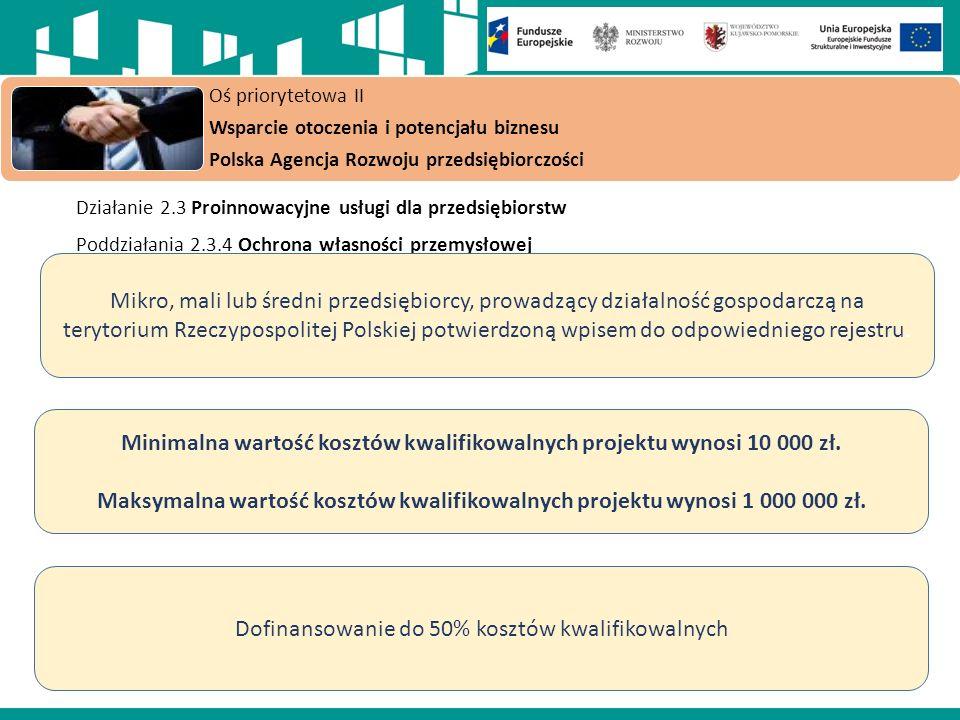 Działanie 2.3 Proinnowacyjne usługi dla przedsiębiorstw Poddziałania 2.3.4 Ochrona własności przemysłowej Oś priorytetowa II Wsparcie otoczenia i potencjału biznesu Polska Agencja Rozwoju przedsiębiorczości Mikro, mali lub średni przedsiębiorcy, prowadzący działalność gospodarczą na terytorium Rzeczypospolitej Polskiej potwierdzoną wpisem do odpowiedniego rejestru.