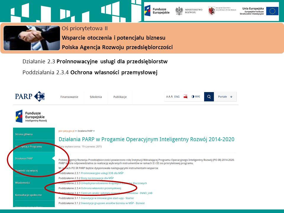 Działanie 2.3 Proinnowacyjne usługi dla przedsiębiorstw Poddziałania 2.3.4 Ochrona własności przemysłowej Oś priorytetowa II Wsparcie otoczenia i potencjału biznesu Polska Agencja Rozwoju przedsiębiorczości