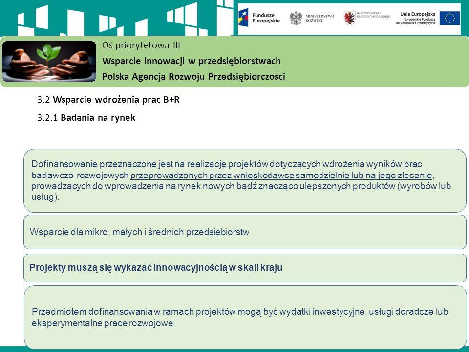 3.2 Wsparcie wdrożenia prac B+R 3.2.1 Badania na rynek Oś priorytetowa III Wsparcie innowacji w przedsiębiorstwach Polska Agencja Rozwoju Przedsiębiorczości Dofinansowanie przeznaczone jest na realizację projektów dotyczących wdrożenia wyników prac badawczo-rozwojowych przeprowadzonych przez wnioskodawcę samodzielnie lub na jego zlecenie, prowadzących do wprowadzenia na rynek nowych bądź znacząco ulepszonych produktów (wyrobów lub usług).