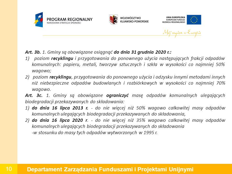 10 Departament Zarządzania Funduszami i Projektami Unijnymi Art. 3b. 1. Gminy są obowiązane osiągnąć do dnia 31 grudnia 2020 r.: 1) poziom recyklingu