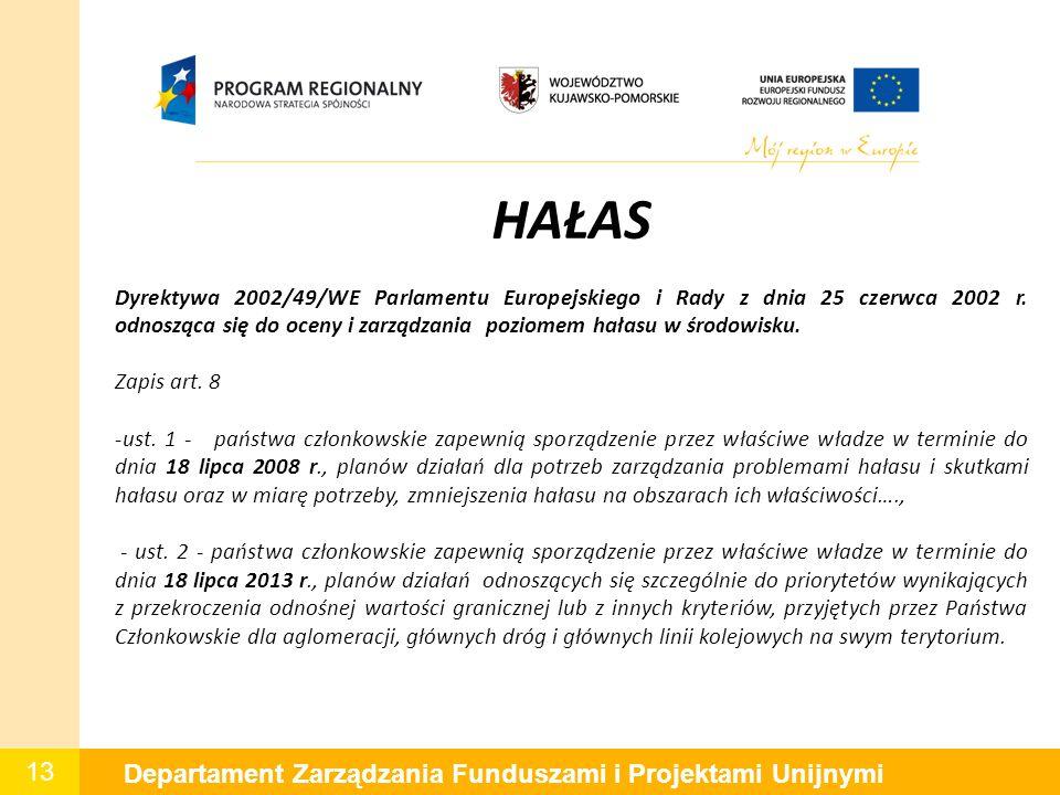 13 Departament Zarządzania Funduszami i Projektami Unijnymi HAŁAS Dyrektywa 2002/49/WE Parlamentu Europejskiego i Rady z dnia 25 czerwca 2002 r. odnos