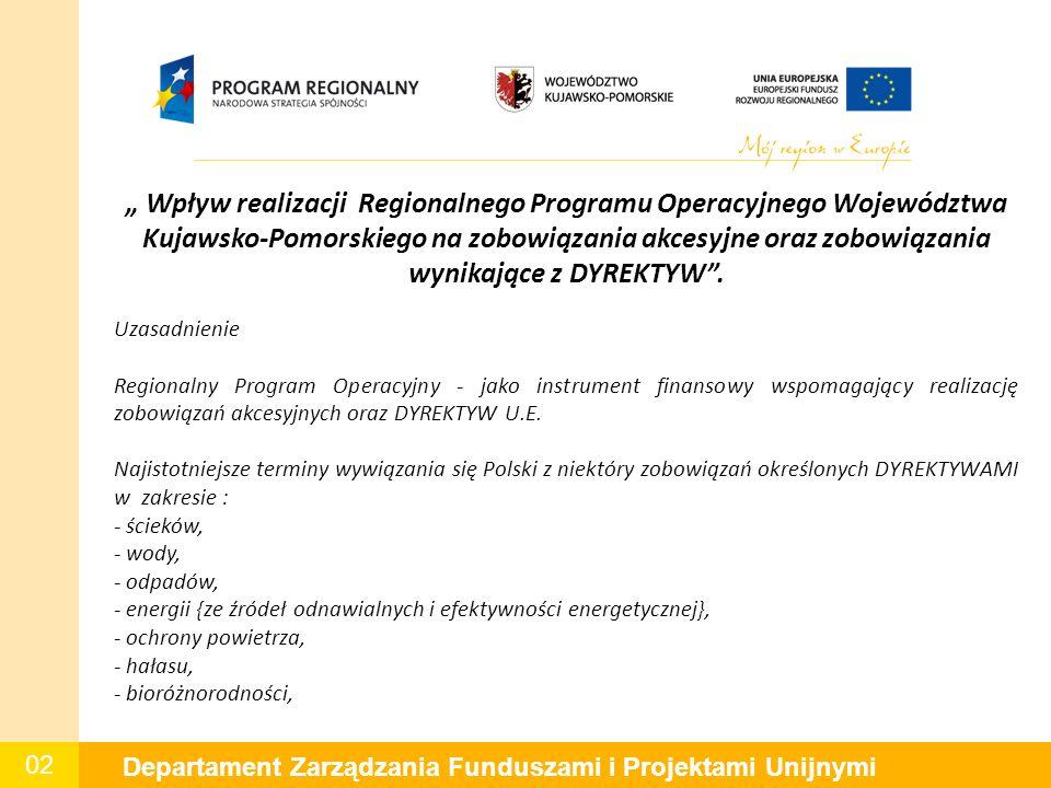 """02 Departament Zarządzania Funduszami i Projektami Unijnymi """" Wpływ realizacji Regionalnego Programu Operacyjnego Województwa Kujawsko-Pomorskiego na zobowiązania akcesyjne oraz zobowiązania wynikające z DYREKTYW ."""