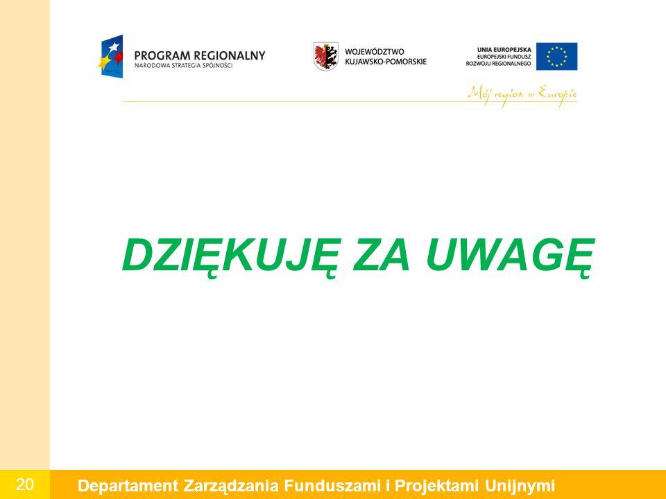 20 Departament Zarządzania Funduszami i Projektami Unijnymi DZIĘKUJĘ ZA UWAGĘ