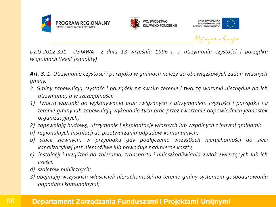 08 Departament Zarządzania Funduszami i Projektami Unijnymi Dz.U.2012.391 USTAWA z dnia 13 września 1996 r. o utrzymaniu czystości i porządku w gminac