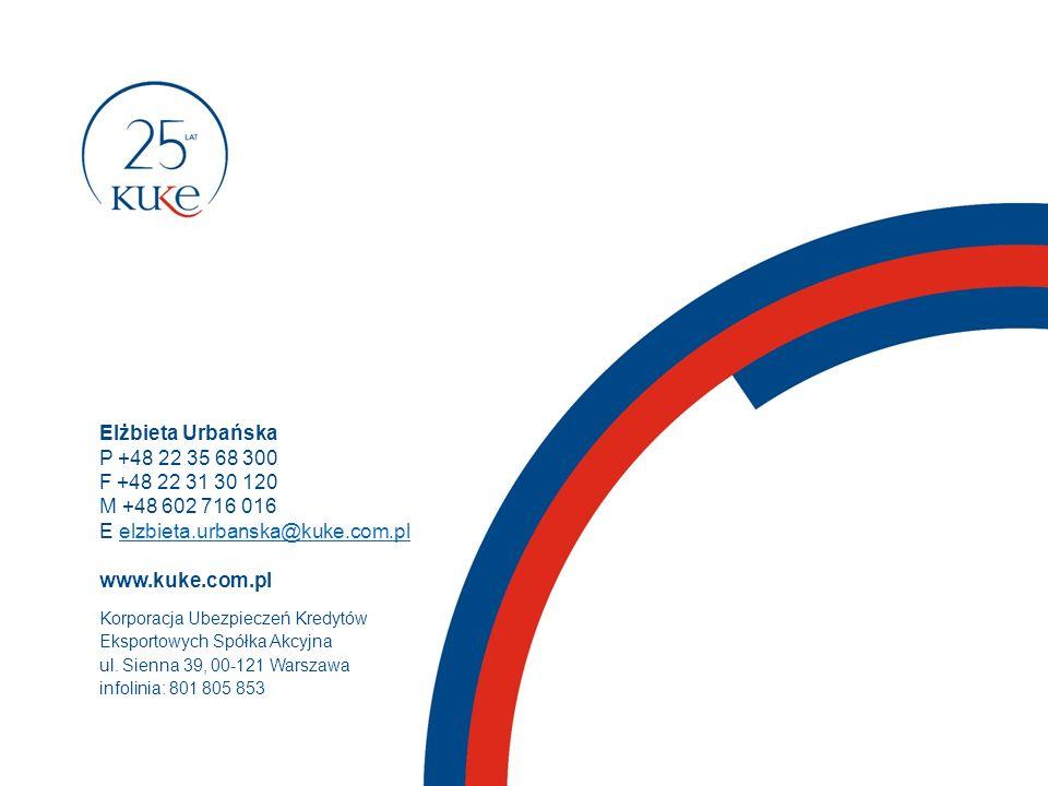 Elżbieta Urbańska P +48 22 35 68 300 F +48 22 31 30 120 M +48 602 716 016 E elzbieta.urbanska@kuke.com.plelzbieta.urbanska@kuke.com.pl www.kuke.com.pl Korporacja Ubezpieczeń Kredytów Eksportowych Spółka Akcyjna ul.