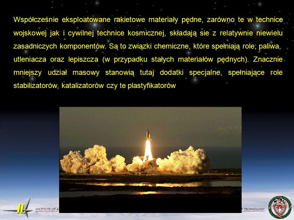 Współcześnie eksploatowane rakietowe materiały pędne, zarówno te w technice wojskowej jak i cywilnej technice kosmicznej, składają sie z relatywnie niewielu zasadniczych komponentów.