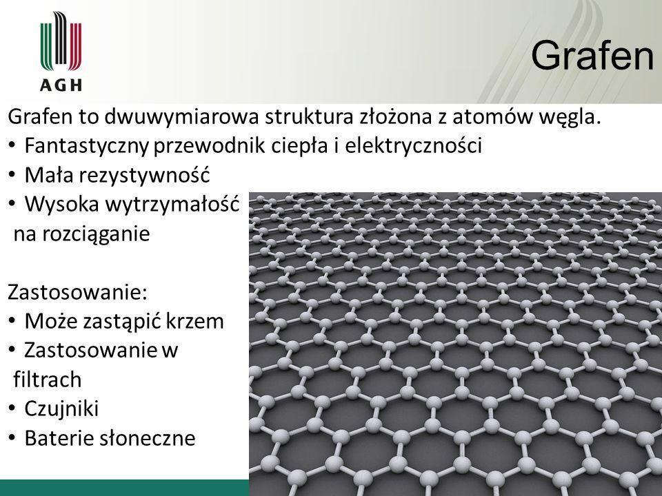 Grafen Grafen to dwuwymiarowa struktura złożona z atomów węgla. Fantastyczny przewodnik ciepła i elektryczności Mała rezystywność Wysoka wytrzymałość