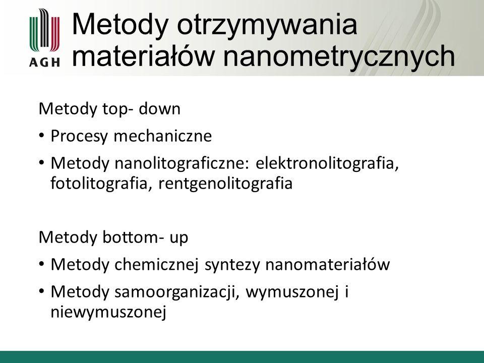 Metody otrzymywania materiałów nanometrycznych Metody top- down Procesy mechaniczne Metody nanolitograficzne: elektronolitografia, fotolitografia, rentgenolitografia Metody bottom- up Metody chemicznej syntezy nanomateriałów Metody samoorganizacji, wymuszonej i niewymuszonej