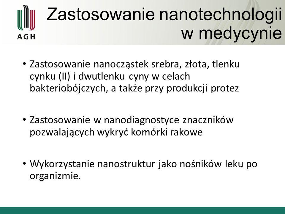 Zastosowanie nanotechnologii w medycynie Zastosowanie nanocząstek srebra, złota, tlenku cynku (II) i dwutlenku cyny w celach bakteriobójczych, a także