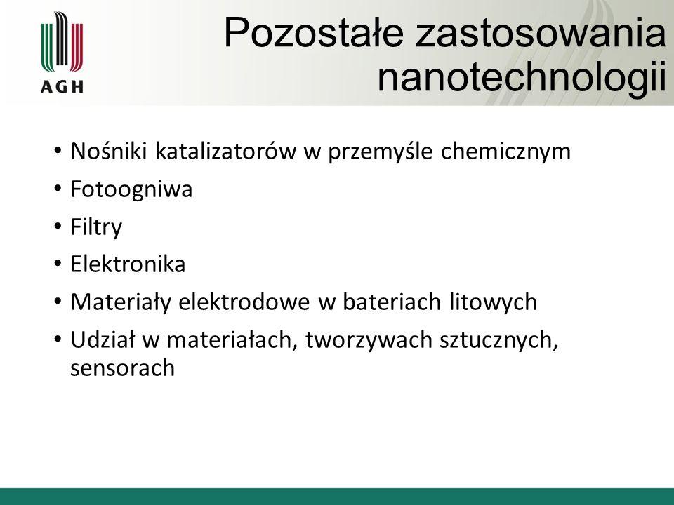 Pozostałe zastosowania nanotechnologii Nośniki katalizatorów w przemyśle chemicznym Fotoogniwa Filtry Elektronika Materiały elektrodowe w bateriach litowych Udział w materiałach, tworzywach sztucznych, sensorach